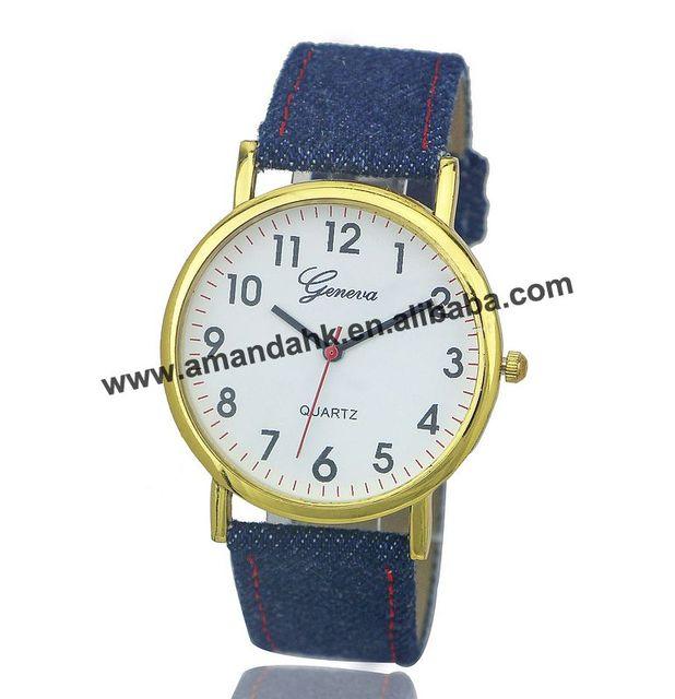 100pcs/lot Fashion Geneva Gold Dial Watches 2016 Jeans Canvas Watch Women Men Quartz Hours Ladies Dress Casual Wristwatches