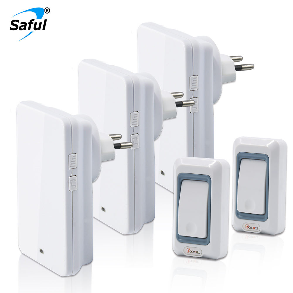 Saful Waterproof Doorbell Wireless Push Button 28 ring tones With 2 Outdoor Transmitters + 3 Indoor Doorbells Receiver hot sale hot sale 180 indoor outdoor day