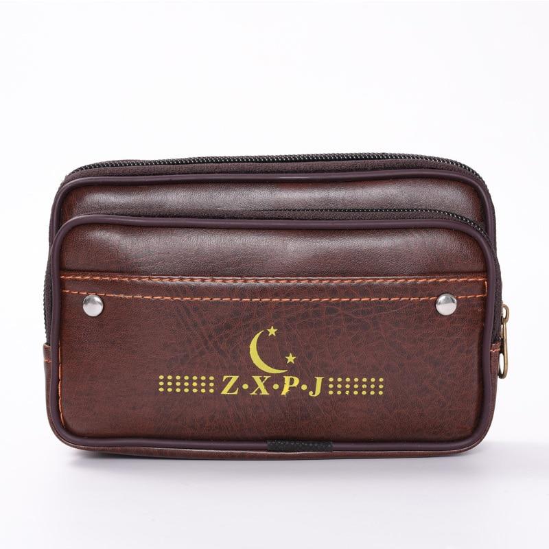 Men Waist Bag Pu Leather Pouch Belt Wear Bum Funny Pack Phone Coin Card Money Wallet Double Zipper Letter Hip Bag Gentlemen