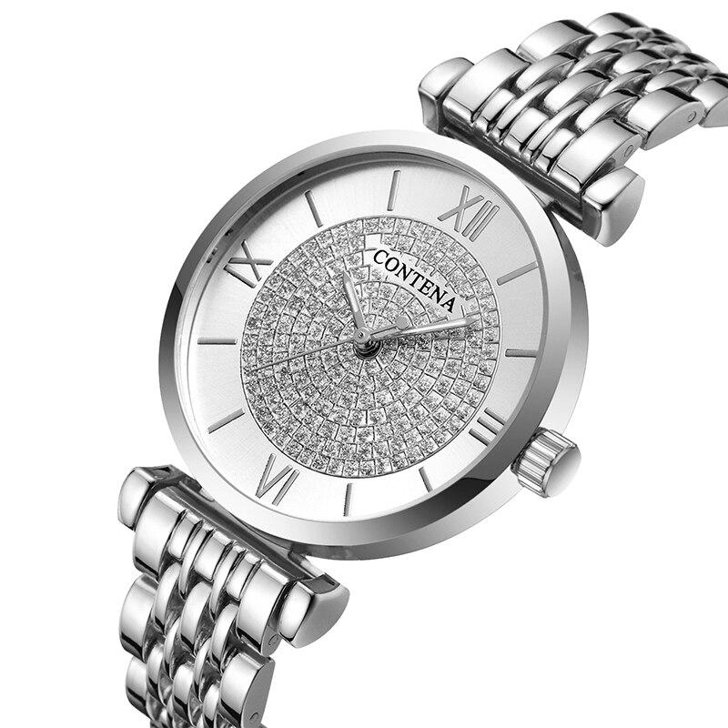 Ladies Quartz Watch 2019 Luxury Brand Contena Women's Wrist Watch Full Stainless Steel Female Clock Rhinestone Wristwatches