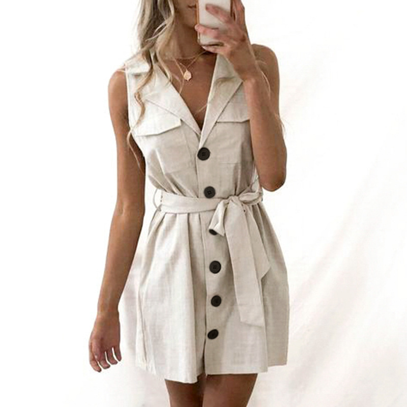 Elegant Short Blazer Women Dress Sexy Bow Belt Tie Solid Mini Dress Linen Button Beach Wrap Party Dresses Shirt Vestidos
