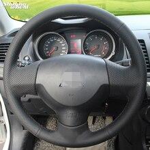 BANNIS Mão-costurado Couro Preto Cobertura de Volante para Mitsubishi Lancer EX 10 Lancer X Outlander
