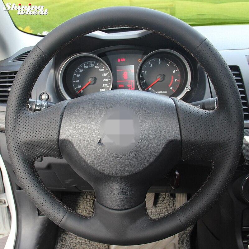 Brillant blé cousu Main En Cuir Noir Volant pour Mitsubishi Lancer EX 10 Lancer X Outlander