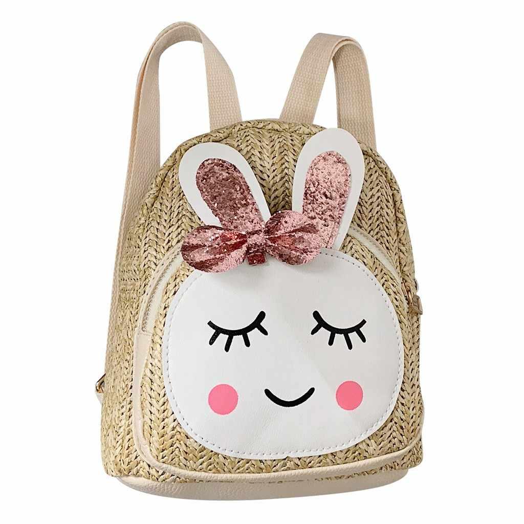 Рюкзаки для девочек детский школьный рюкзак дети мода девушки кролик соломенный наплечный рюкзак, повседневные сумки G0619 #10