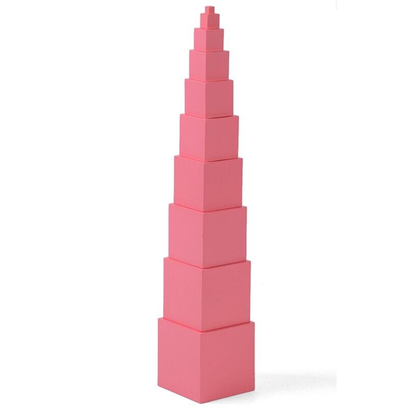 Montessori professionnel rose tour sans support 1 cm à 10 cm petite enfance éducation préscolaire enfants jouets Brinquedos Juguetes - 4