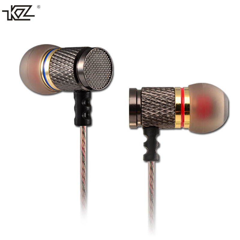 Original KZ-ED2 Metal Stereo Earphones With Mic Noise Cancelling Ear buds In Ear BASS Wired Earphone HiFi Ear Phones For iPhone kz zs1 supr bass stereo sound music earphone noise cancelling earphone in ear style wired earphone with mic for mobile phone