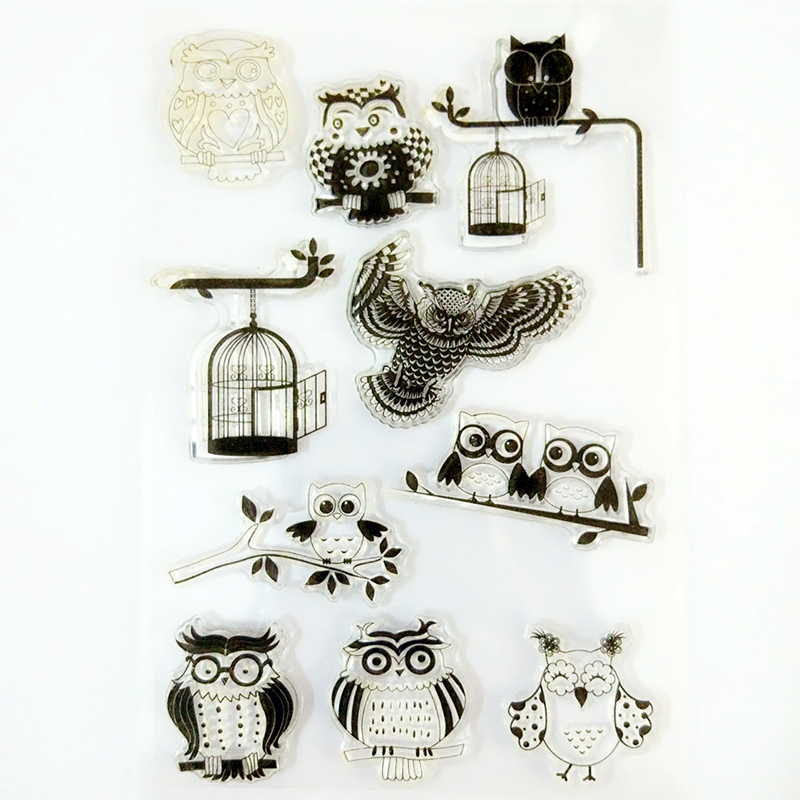 YLCS152 Owl Silicone Clear Stamps For Scrapbooking DIY Album Paper Cards Making Decoration Embossing Rubber Stamp 11x16cm lovely animals and ballon design transparent clear silicone stamp for diy scrapbooking photo album clear stamp cl 278