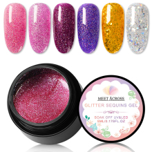 MEET ACROSS 5ml Holographic Glitter Nail Gel Set Shining UV Polish Super Shimmer Manicure Soak Off Art Varnish