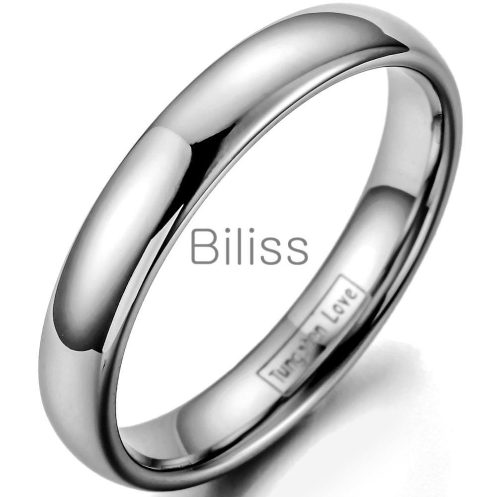 4MM High Polished Plain Dome Tungsten Carbide Ring for Women Men ...