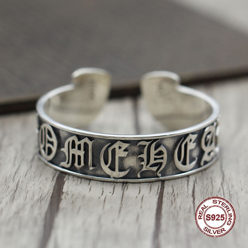 S925 Men's bracelet in Sterling Silver Personality retro hip hop Letters around Classic simple punk style Send a gift to love letters to a love rat