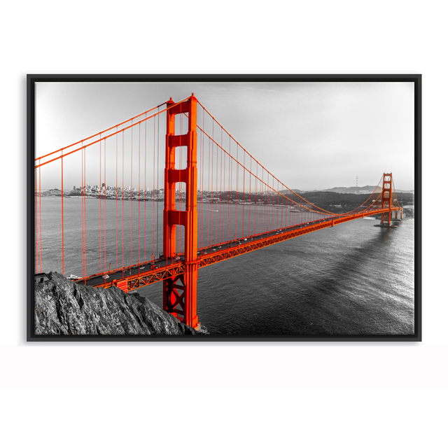 Lovely Framed Canvas Wall Art Golden Gate Bridge San Francisco California Canvas  Print Black White Red Wall