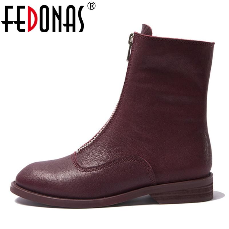 3019e0bc5 Genuino rojo De Bajos Mujer Redonda Corto Zapatos Fedonas Botas Martin Marca  Learther Otoño Botines Negro Tacones Mujeres ...