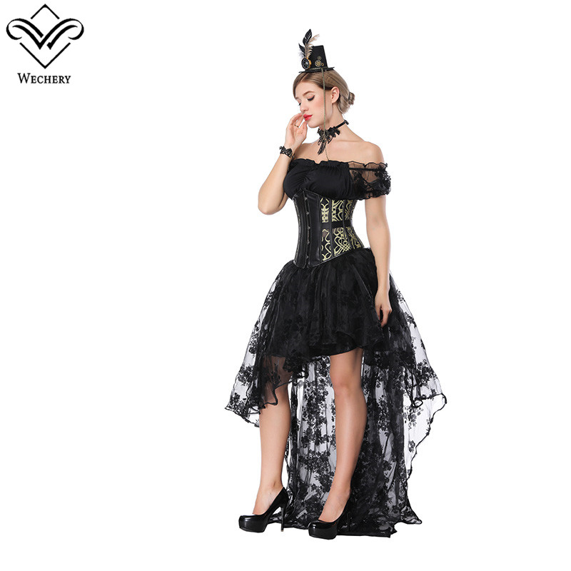 Wechery <font><b>Skirts</b></font> Tutu with Off Shoulder Corsets Lace Floor Length <font><b>Skirt</b></font> and Slimming Lace Up Corset Set <font><b>Gold</b></font> <font><b>Rose</b></font> Red Show Costume image