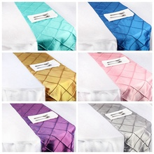 OurWarm 20pcs Satin Table Runners for Wedding 12x108inch 6 Colors Pintuck Tablecloth Wedding Party Banquet Table Decoration