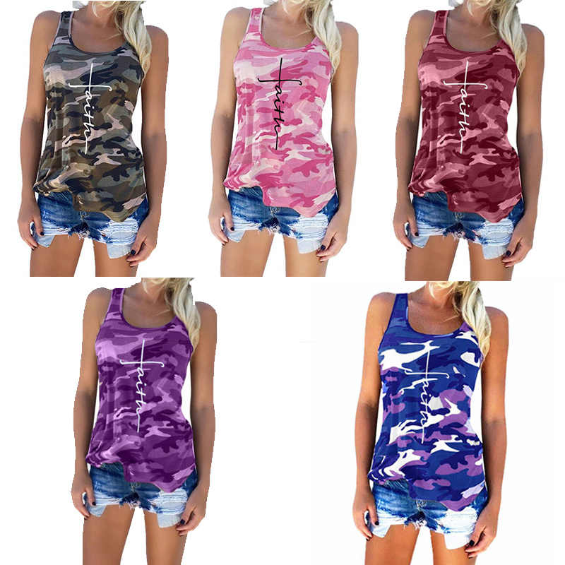 5XL 2019 Sommer Neue Mode Frauen Camouflage Tank Tops Casual Glauben Buchstaben Druck Ärmelloses T-shirt Plus Größe Lose Weibliche Tops