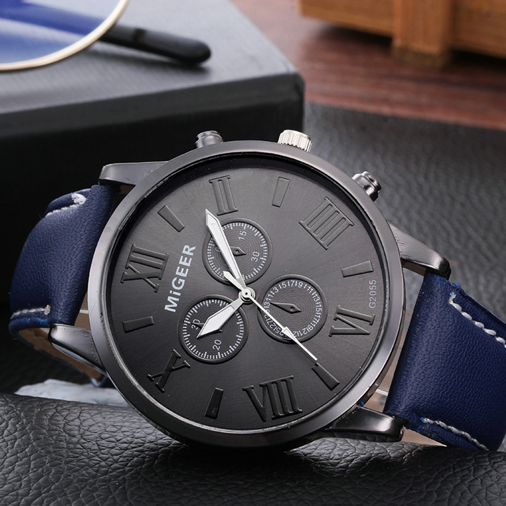 MIGEER Men Watch Classic Leather Strap Quartz Casual watch man watches mens 2019 men wristwatch clockMIGEER Men Watch Classic Leather Strap Quartz Casual watch man watches mens 2019 men wristwatch clock