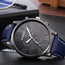 MIGEER Men Watch Classic Leather Strap Quartz Casual