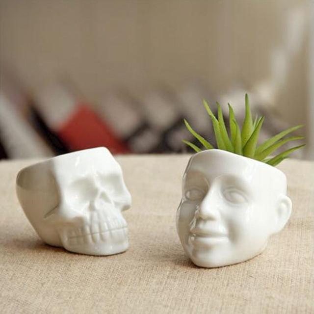 1PC Flower Pots Capita Skull Flower Pots Planters Desktop Accessories Home Decoration Modern Design Gifts White Ceramic Pots