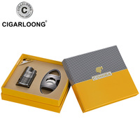 COHIBA Cigar Lighter Cutter Gift Set 4 Torch Jet Flame With Punch Black Chrome Gift Box TZ 61