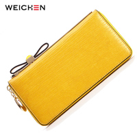 WEICHEN Cow Genuine Leather Bow Fashion Women Wallets Phone Coin Card Pocket Purse Clutch Handbags Carteiras