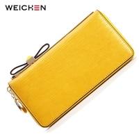 WEICHEN Cow Genuine Leather Bow Fashion Women Wallets Phone Coin Card Pocket Purse Clutch Handbags Carteiras