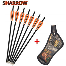 8pcs 17 Crossbow Bolts Arrows Carbon Shafts With Arrow Quiver For Outdoor Hunting Shooting Archery Accessories