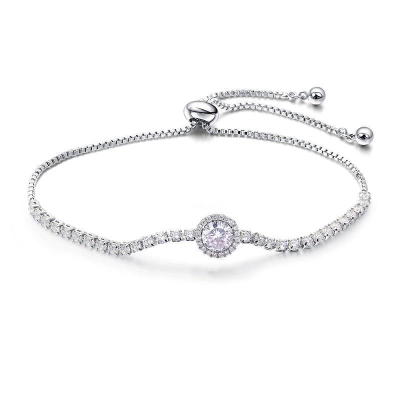 Купить модные браслеты белого цвета с кубическим цирконием для женщин