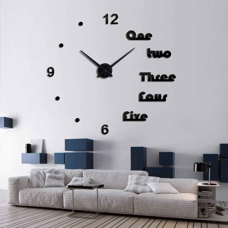 Nouvelle horloge murale 2017 conception reloj de pared quartz montre grand décoratif bricolage horloges moderne salon acrylique 3d autocollants lettre