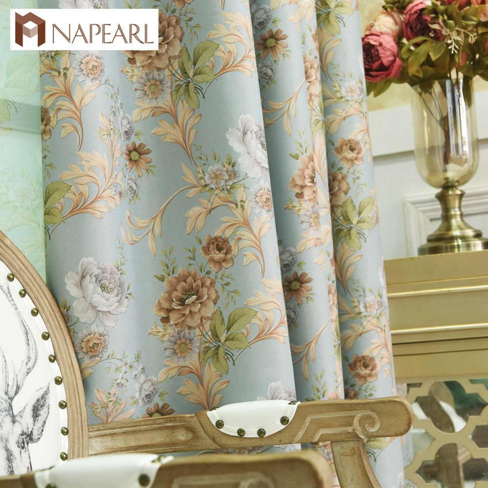 Blackout Curtains Floral Bedroom Window Treatment Blue
