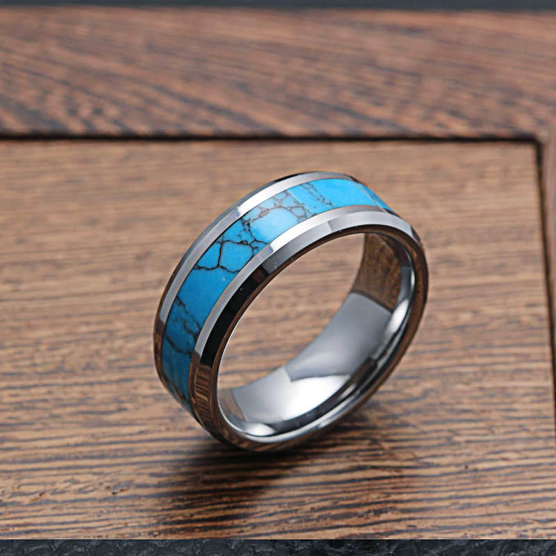 Mens Rings Tungsten Carbide With Blue Pattern Natural Stone Inlay Beveled Edges Wedding Bands Ring For Men Fashion Jewelry In From