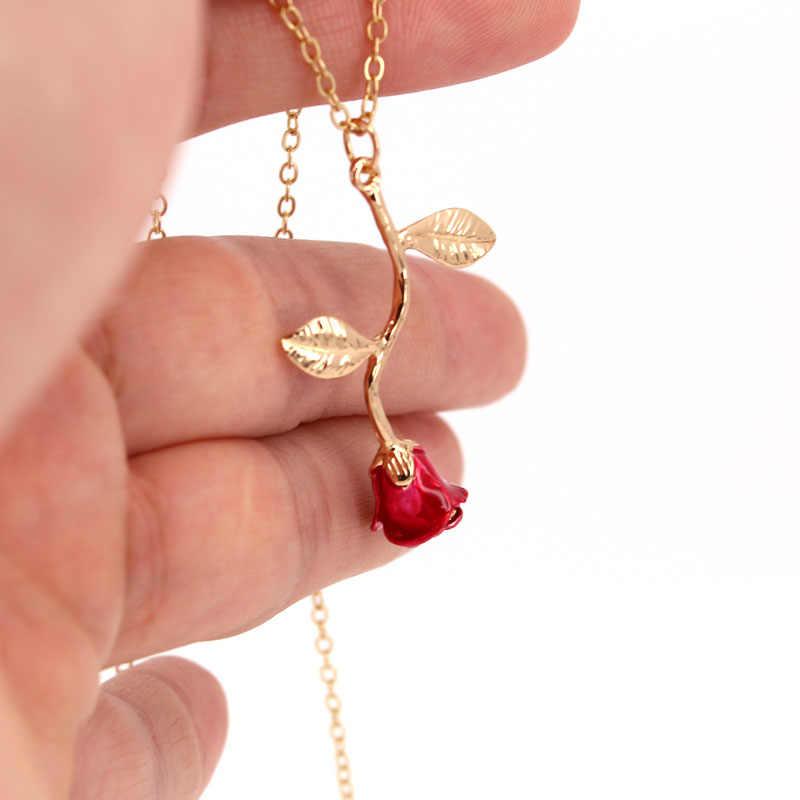 Hzew สร้อยคอ red rose วันวาเลนไทน์ rose ของขวัญสร้อยคอสำหรับคนรักผู้หญิง