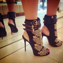 Women Sexy New Design Open Toe Spike High Heel Ankle Boots Gold Rivet Ankle Buckle Design Gladiator Boots Dress Shoes