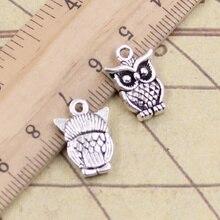 12pcs/lot Charms big eyes owl 16x12mm Antique Silver Pendants Making DIY Handmade Tibetan Silver Finding Jewelry for Bracelet