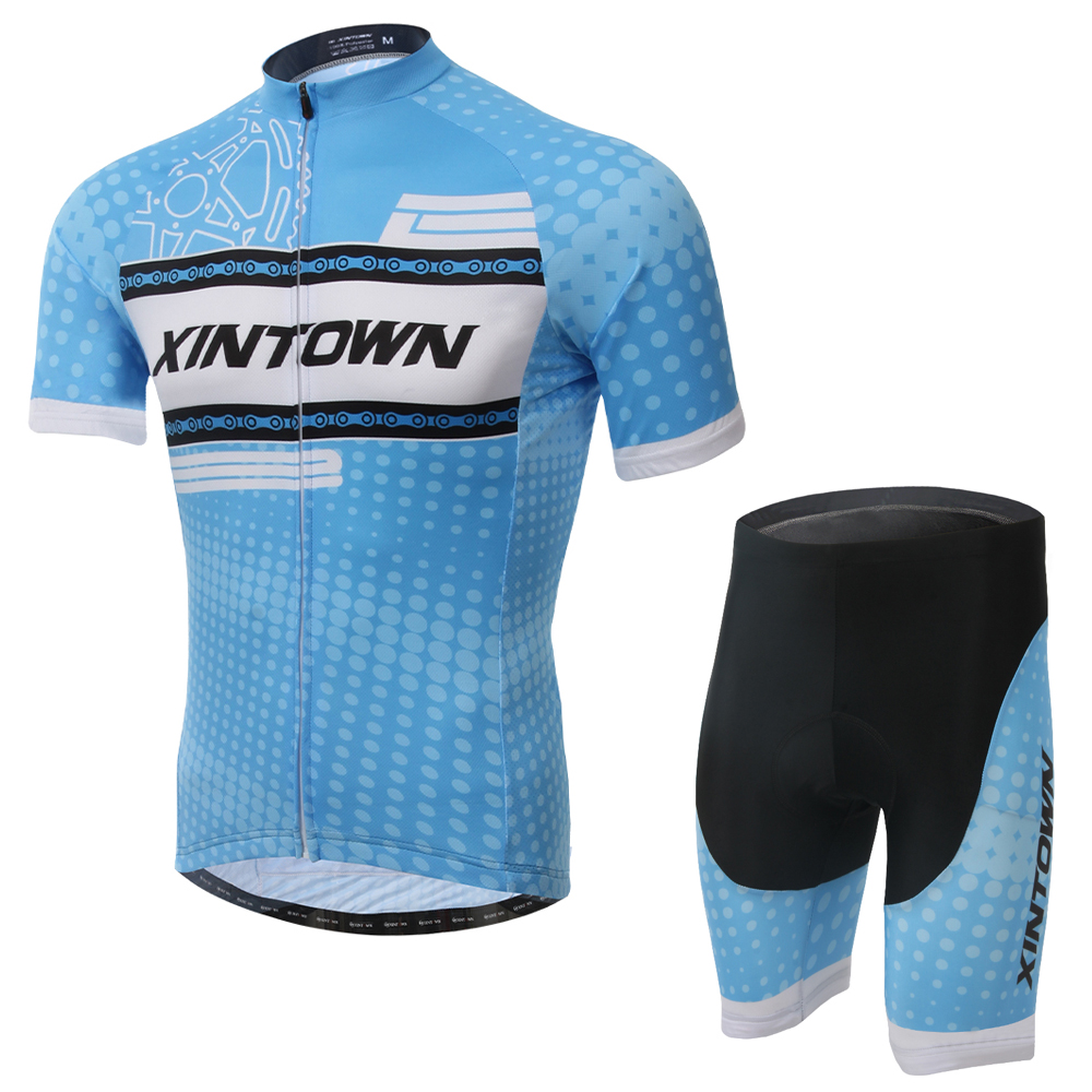Chain Men/Women Cycling Set Short Sleeve Jersey and Shorts Kit MTB Downhill Roupa Ciclismo 100% Polyester Bike Bicycle Clothing