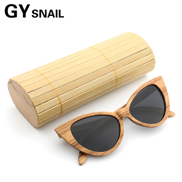 20f086be30eca GY bamboo Original Wood Sunglasses Women Polarized vintage Handwork Retro  cat eye Wooden Sun Glasses female With Gift box Oculos