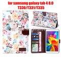 "Чехол для Samsung galaxy tab 4 tab4 8.0 T330 / T331 / T335 8 "" планшет оболочки цветок печать ткань кожаный чехол + стилус + пленка"