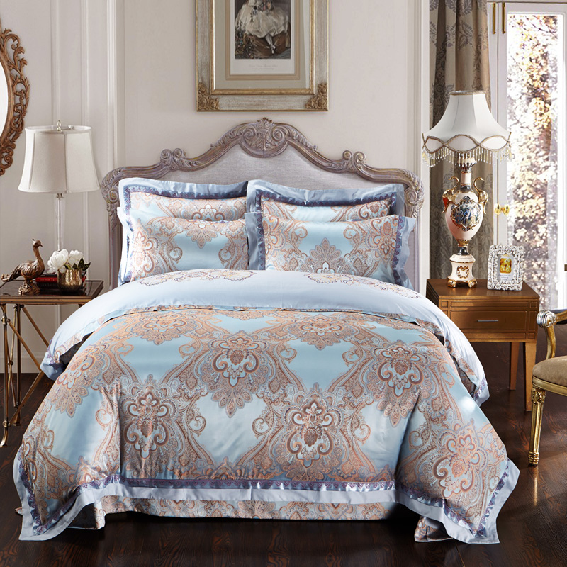 Gold And Jacquard Comforter Cover King Queen Size Cotton Silk European Embroidered Bedding Set Bedroom Decor