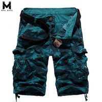 2018 New Camouflage Printing Straight Tooling Cotton Mens Shorts Fashion Casual Loose Personality Zipper Multi pocket Men Short