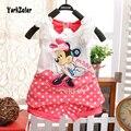 Новые марка хлопок летние детская одежда набор девочка напечатаны мультфильм сетка жилет + dot шорты 2 шт. костюм дети детские красочные костюм