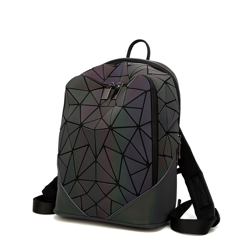 Newest Backpack Noctilucent Women Fashion Bags Laser Lattice Geometric Luminous Backpack For Teenage Girls School Bags #2