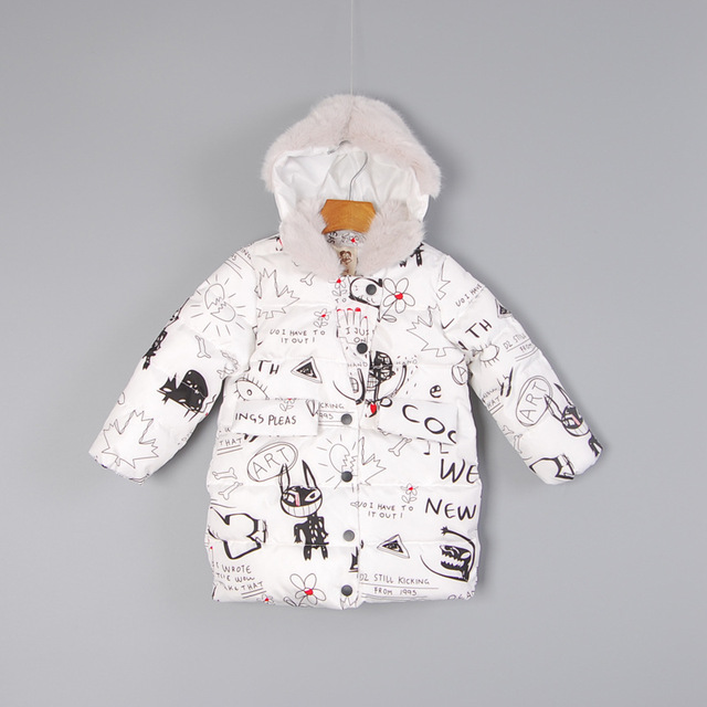 Male Female Cold Winter Hooded Graffiti Pattern Long Cotton-Padded Clothes Girl's Boy's Casual Jacket Outwear