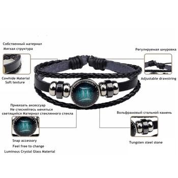 New 12 Constellation Luminous Bracelet Men Leather Bracelet Charm Bracelets 5