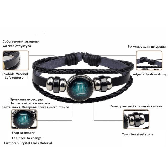 New 12 Constellation Luminous Bracelet Men Leather Bracelet Charm Bracelets for Men Boys Women Girl Jewelry Accessories Gifts 5