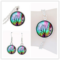 Tree Of Life Jewelry Sets Nature Plant Woodland Jewelryset Wedding Gifts For Bride Glass Cabochon Art