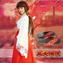 Anime Inuyasha Kikyo Kimono Full Set Cosplay Costume Halloween Costume Top + Skirt + Clogs + Socks