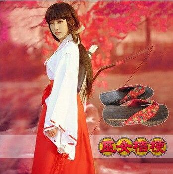 Anime Inuyasha Kikyo-lattich-perücke Kimono Vollen Satz Cosplay Kostüm Halloween Kostüm Top + Rock + Clogs + Socken