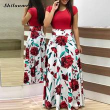 цены High Waist Floral Long Dresses Elegant Women Short Sleeve Summer Bohemian Dress For Travel A-Line Lady Female Dresses 2018
