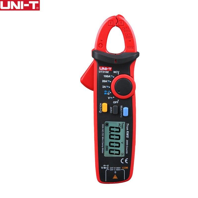 UNI-T ut210e True RMS мини цифровой Токовые клещи AC/DC тока Напряжение Авто Диапазон VFC емкость Бесконтактный мультиметр диод