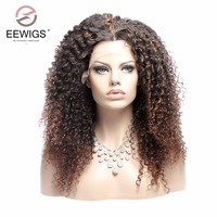 Kinky Curly Synthetic Lace Front Wig Afro Ombre Brown Natural Hairline Middle Part for Women Wigs 2#/33# 20 inches 180% Density