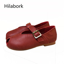 Leather leisure leather shoes 2017 Spring and Autumn new girl fashion carved Peas shoes boy soft bottom HOOk & LOOP retro shoes